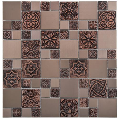Meta Versailles Copper 11 3 4 X11 3 4 Stainless St Cer Mos In 2020 Metal Mosaic Tiles Porcelain Mosaic Tile Mosaic Wall Tiles
