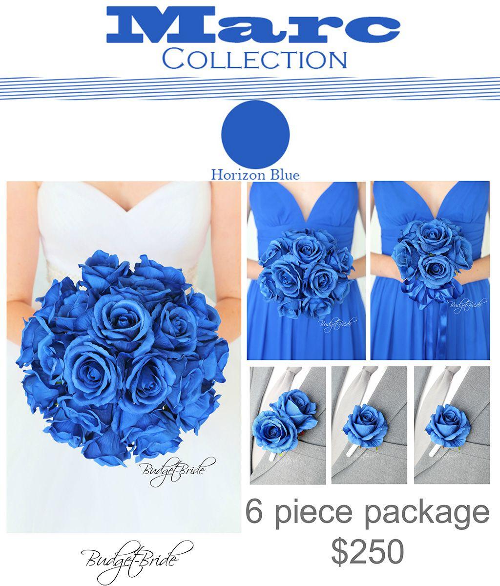 Horizon Davids Bridal Wedding Bouquet Royal Blue Flowers With Roses