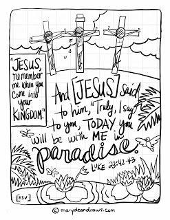 Come Luke 23:42-43 Bible coloring page (English Spanish