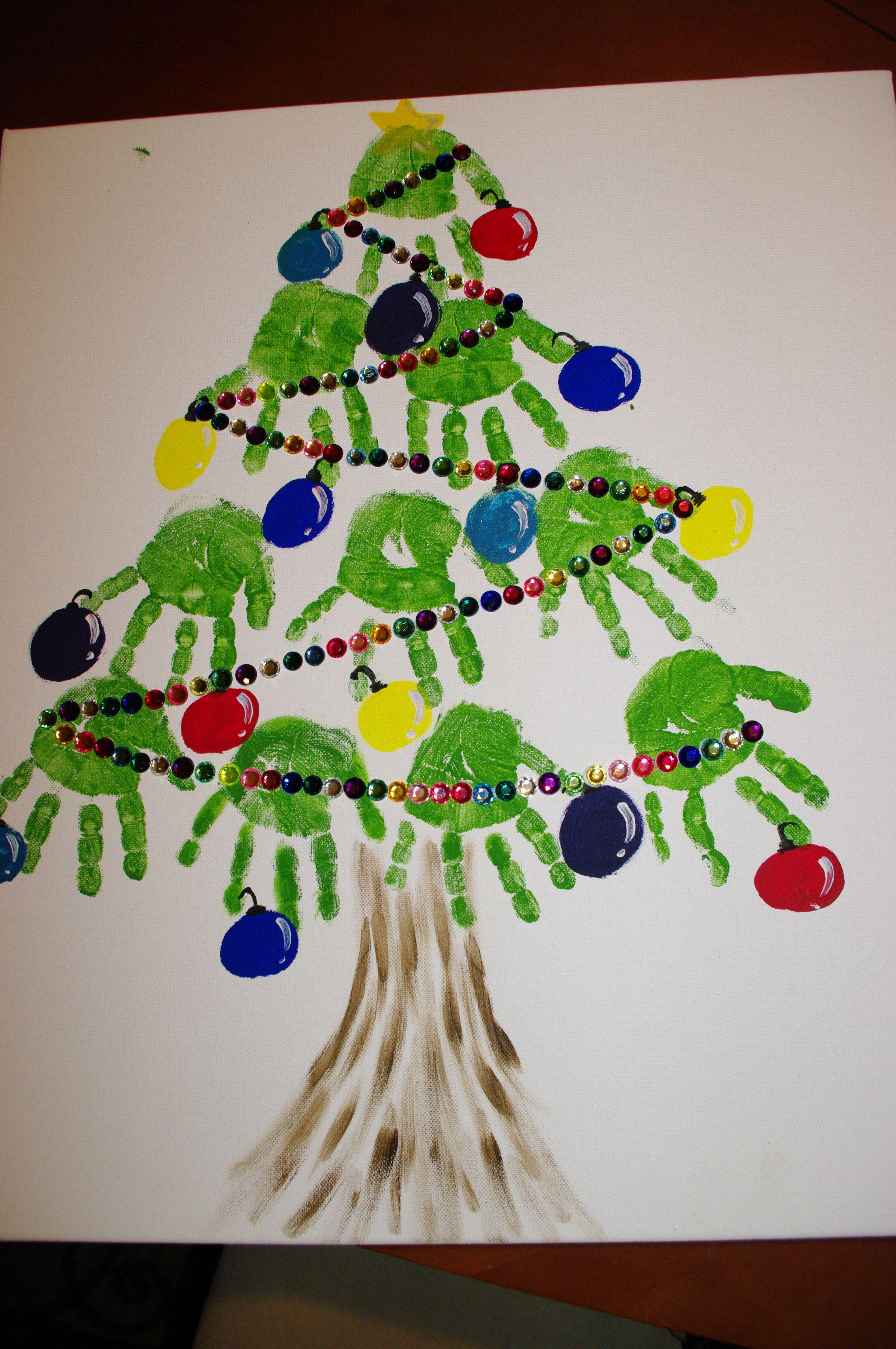 Handenkerstboom Kindergarten Weihnachten Handabdruck