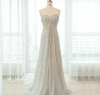 huaxiangsi Gray/Grey Chiffon Prom Dress Maternity Prom Dresses A line Beaded Homecoming Dresses Sweetheart Floor Length Party Gown