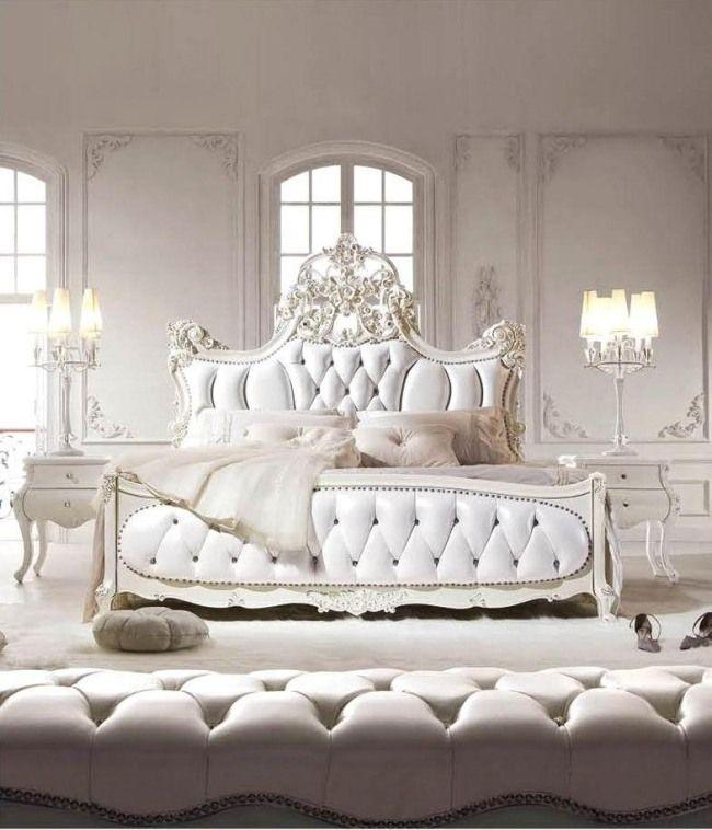 wohnideen für schlafzimmer luxus weiß polsterung ornamente | Home ...