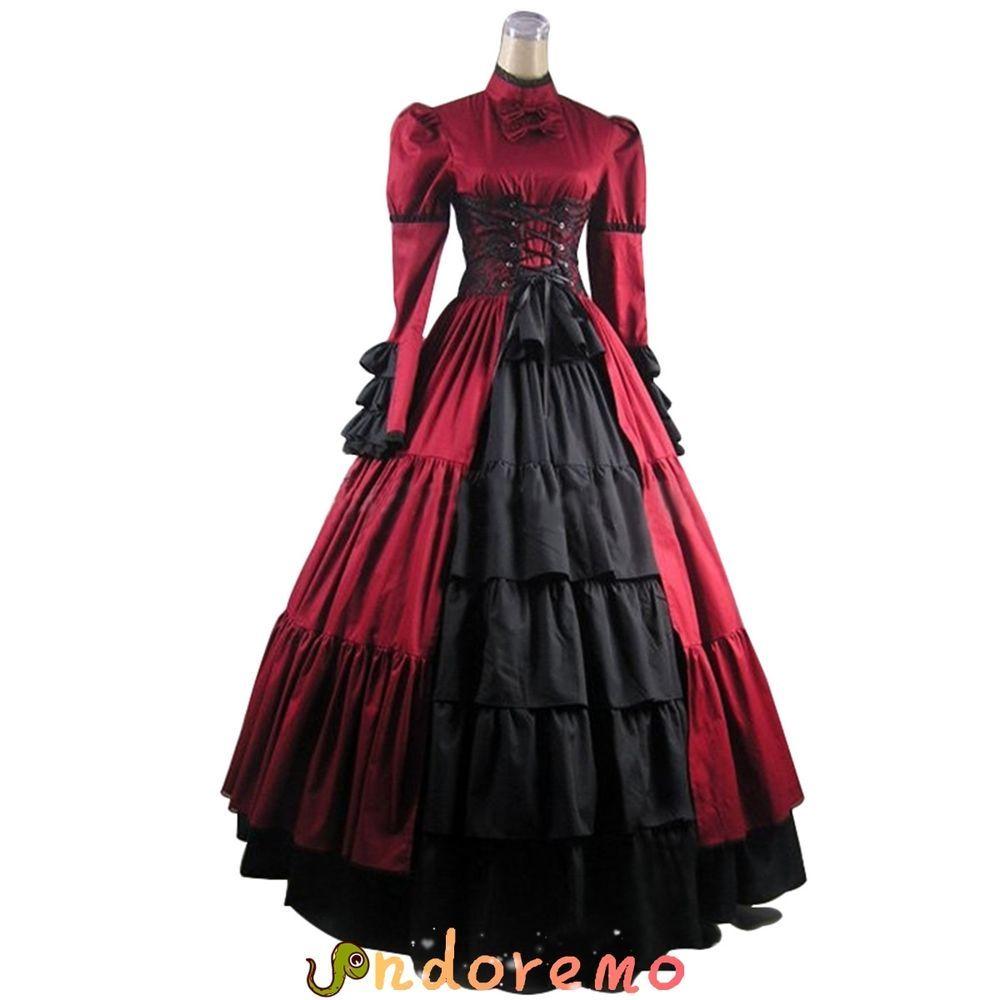 Dark Red Gothic Lolita Medieval Renaissance Victorian Ball Gown ...