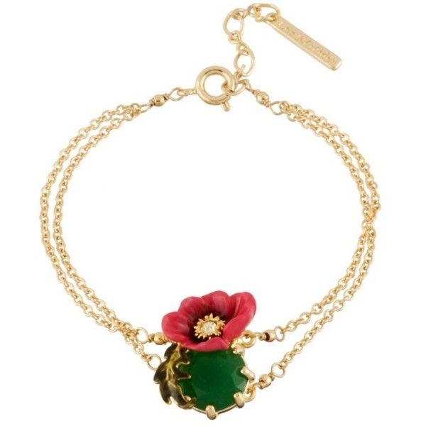Les Nereides Dazzling Discretion Large Pink Flower With Green Stone... ($106) ❤ liked on Polyvore featuring jewelry, bracelets, pink, 14k bangle, les nereides jewellery, pink jewelry, beaded jewelry and beading jewelry
