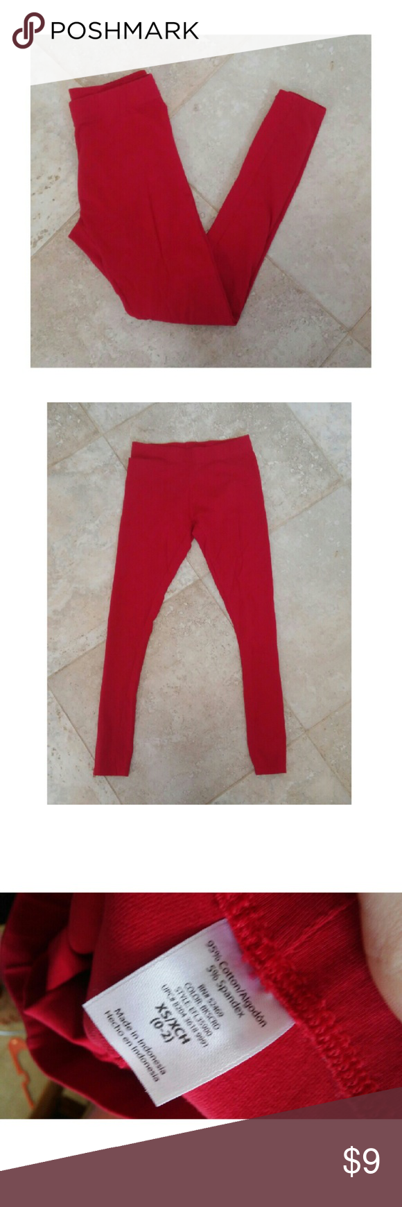 Red Full length leggings size XS (0-2) Red Full length leggings Size XS (0-2)   EXCELLENT CONDITION!   ***Charlotte Russe wedges are also available for sale in my other listings *** Pants Leggings