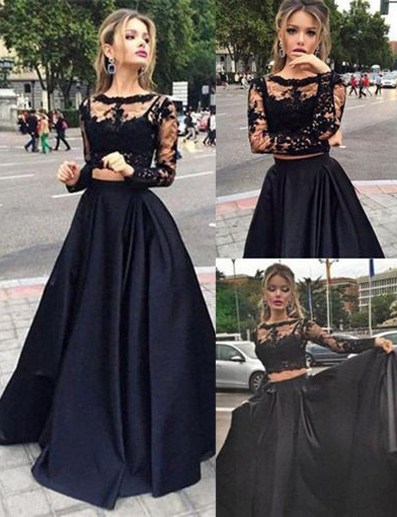 Stunning two piece bateau long sleeves black prom dress with lace