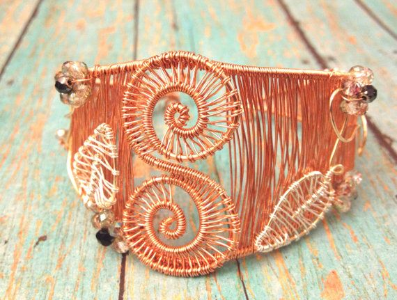 Copper Spiral wire wrapped cuff bracelet by XIDesignStudio