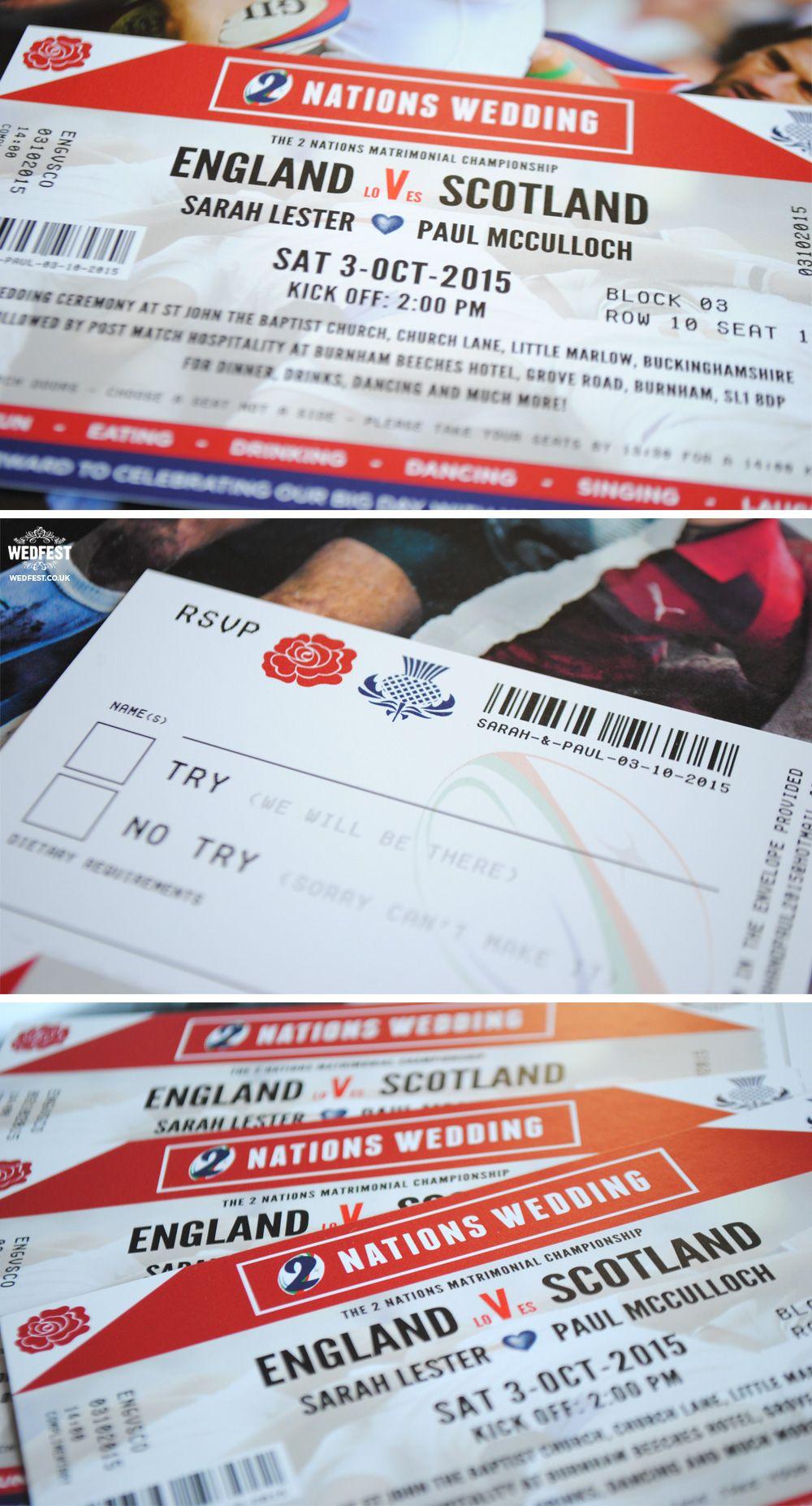 Scotland V England Rugby Wedding Invitation Http Www Wedfest Co