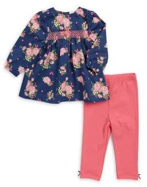 3150ee0bb14b Little Me Baby Girl s Two-Piece Floral Cotton Tunic   Leggings Set ...