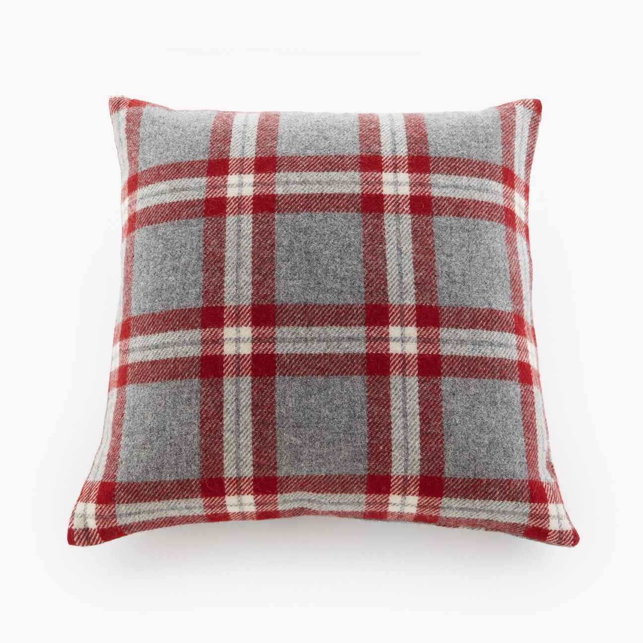 Red And Grey Plaid Pillow Made In Minnesota By Faribault