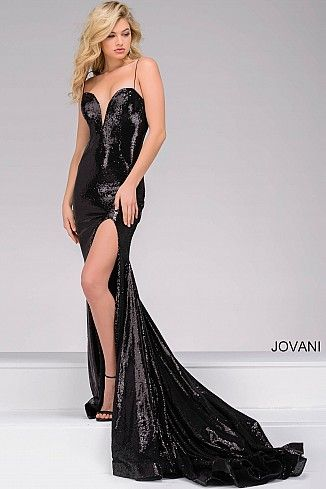 Black High Slit Sequin Dress 40436   Prom Dresses   Pinterest ...
