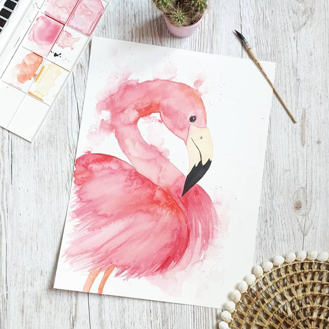 Watercolor Flamingo Flamant Rose En Aquarelle Idee Cadre