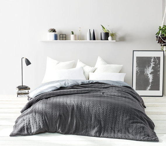 Cable Knit Comforter Granite Gray Twin Xl Comforter Twin Xl Bedding Bedding Sets College Bedding
