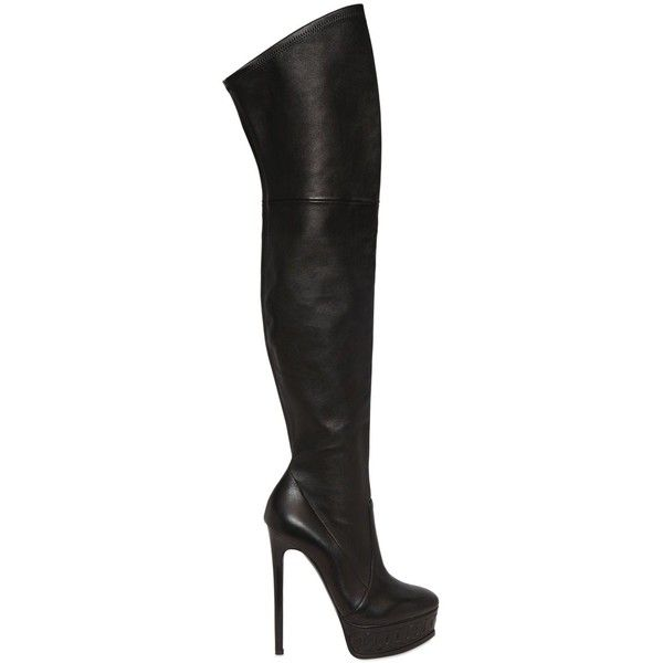 Black knees · Casadei Women 150mm Stretch Leather Boots ($1,845) ❤ liked on  Polyvore featuring shoes,