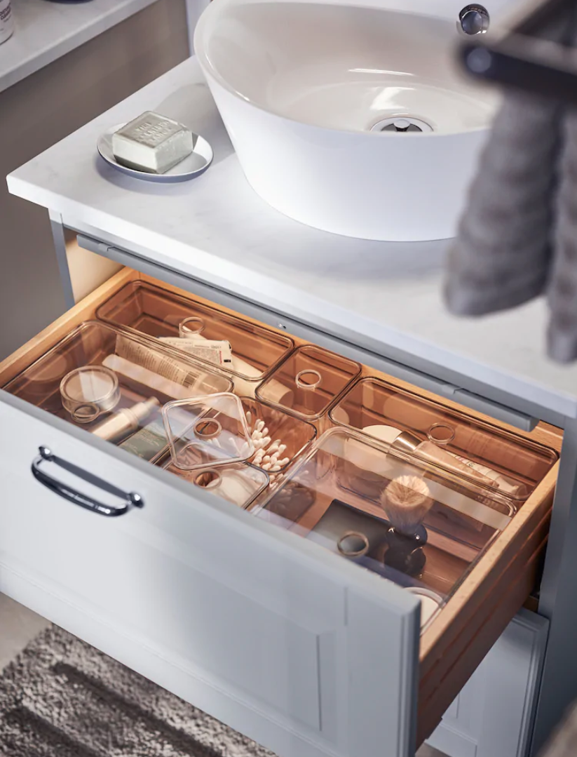 Oh How Satisfying Is That And Your Bathroom Drawers Could Look The Same Just Get Yourself Some Small B In 2020 Clever Bathroom Storage Ikea Bathroom Bathroom Drawers