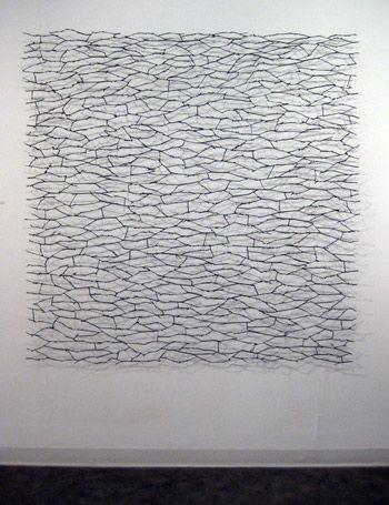"Larry Cressman // Ground Cover II // Daylily Stalks, Graphite, Polymer Medium, Glue, Pins // 68x68x4"""