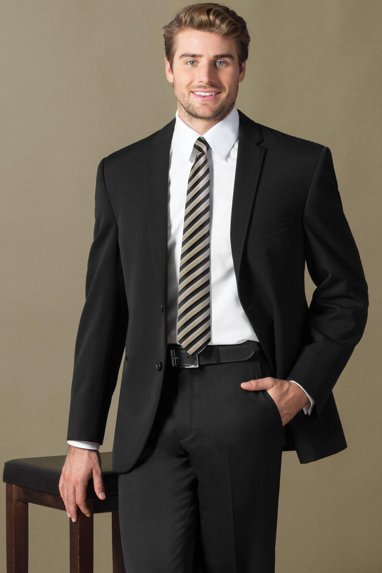 For A Clic Look With An Updated Fit The Black Sterling Wedding Suit Is Perfect Choice Your Next Semi Formal Affair Venetian Super Wool