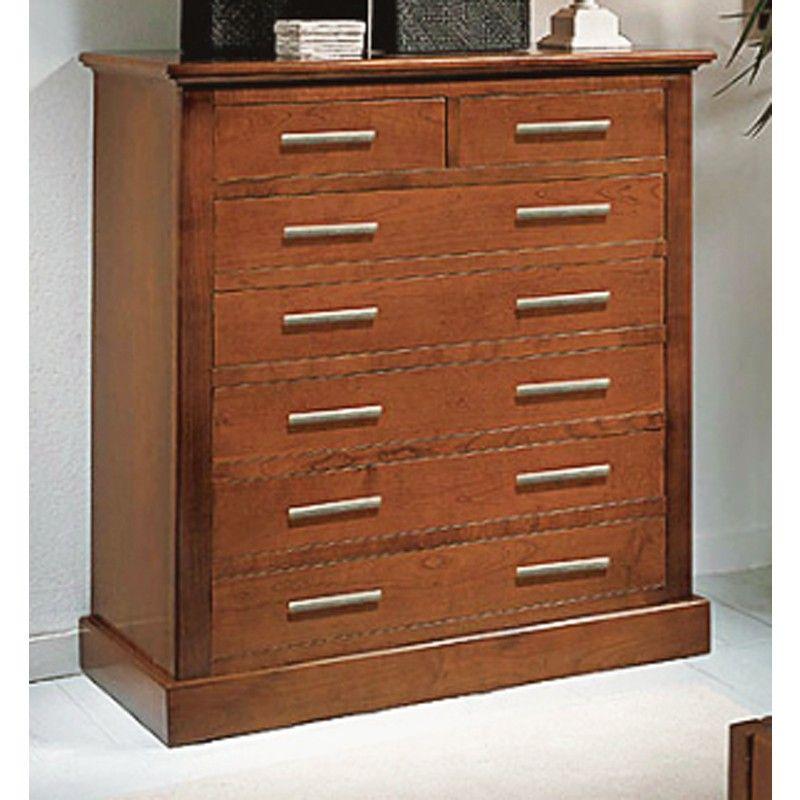 C moda con 7 cajones y realizada en madera de cerezo for Comodas modernas para dormitorio