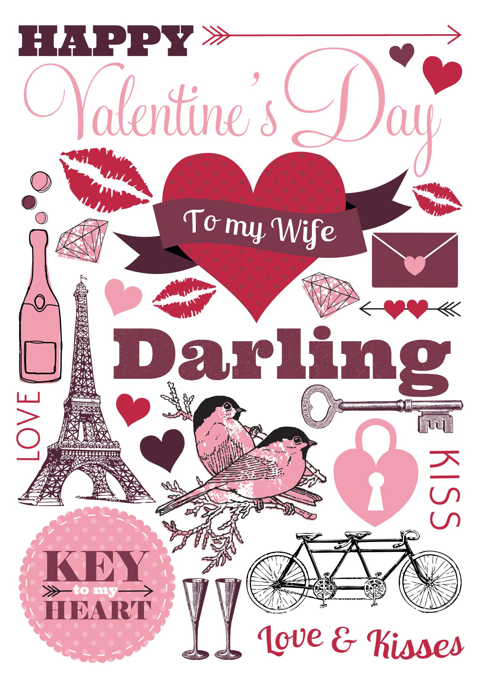 A Darling Wife Valentines Card Be Our Valentine Pinterest