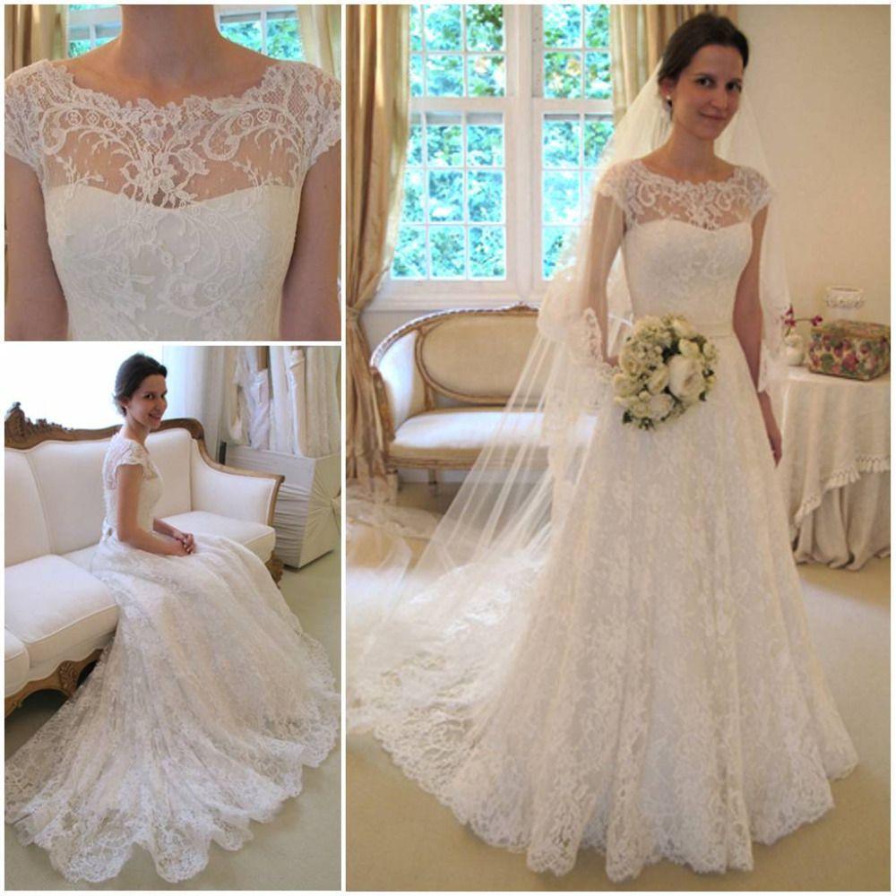 2015 vintage lace whiteivory wedding dresses a line crewneck 2013 new arrival vestidos de noivas vintage lace wedding dress short sleeve for autumn bridal dress ombrellifo Gallery