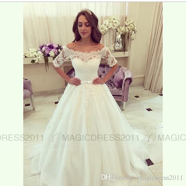 2016 Lace Wedding Dresses Elegant Bateau Bridal Gowns A Line Appliques Pleated Half Sleeve