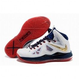 new product 3db06 25a57 2013 Outlet Nike Zoom Lebron 10 X Mens Shoes Online White Gold Red