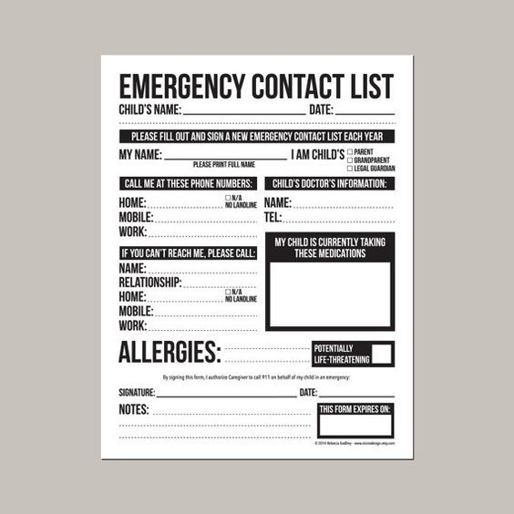Emergency Contact Form for Nanny Babysitter or by microdesign - emergency contact forms