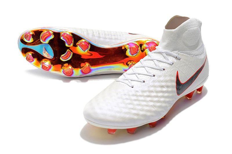 Botas de Futbol Nike Magista Obra 2 FG ACC Blanco Gris Rojo  9e26e20c82665