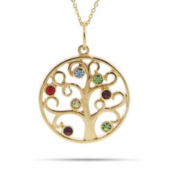 7 stone gold plated birthstone family tree pendant tree pendant 7 stone gold vermeil crystal birthstone family tree pendant aloadofball Choice Image