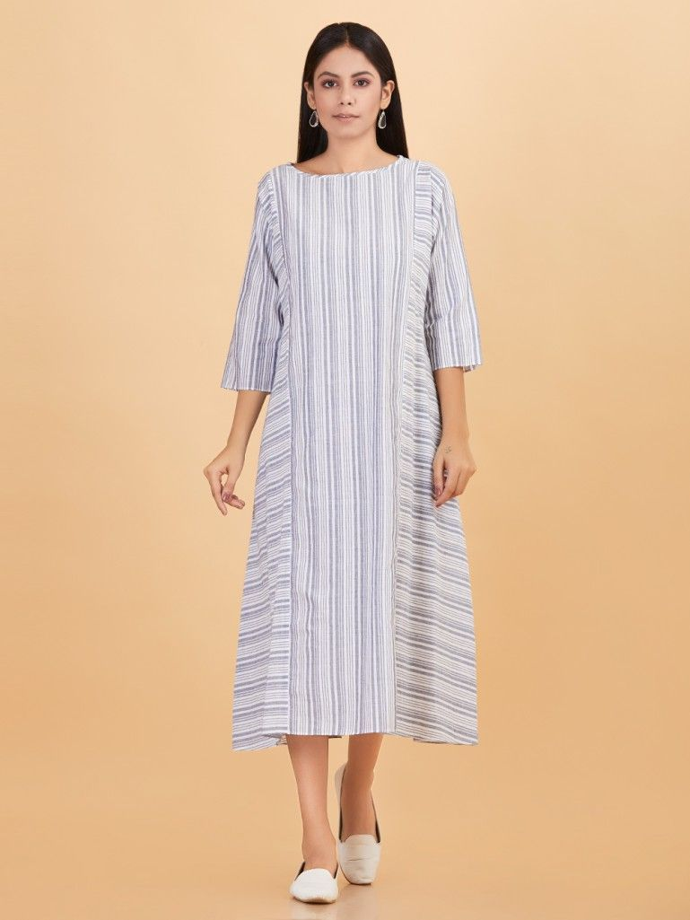 8a19fccd49 Buy Grey Cotton Striped Dress online at Theloom