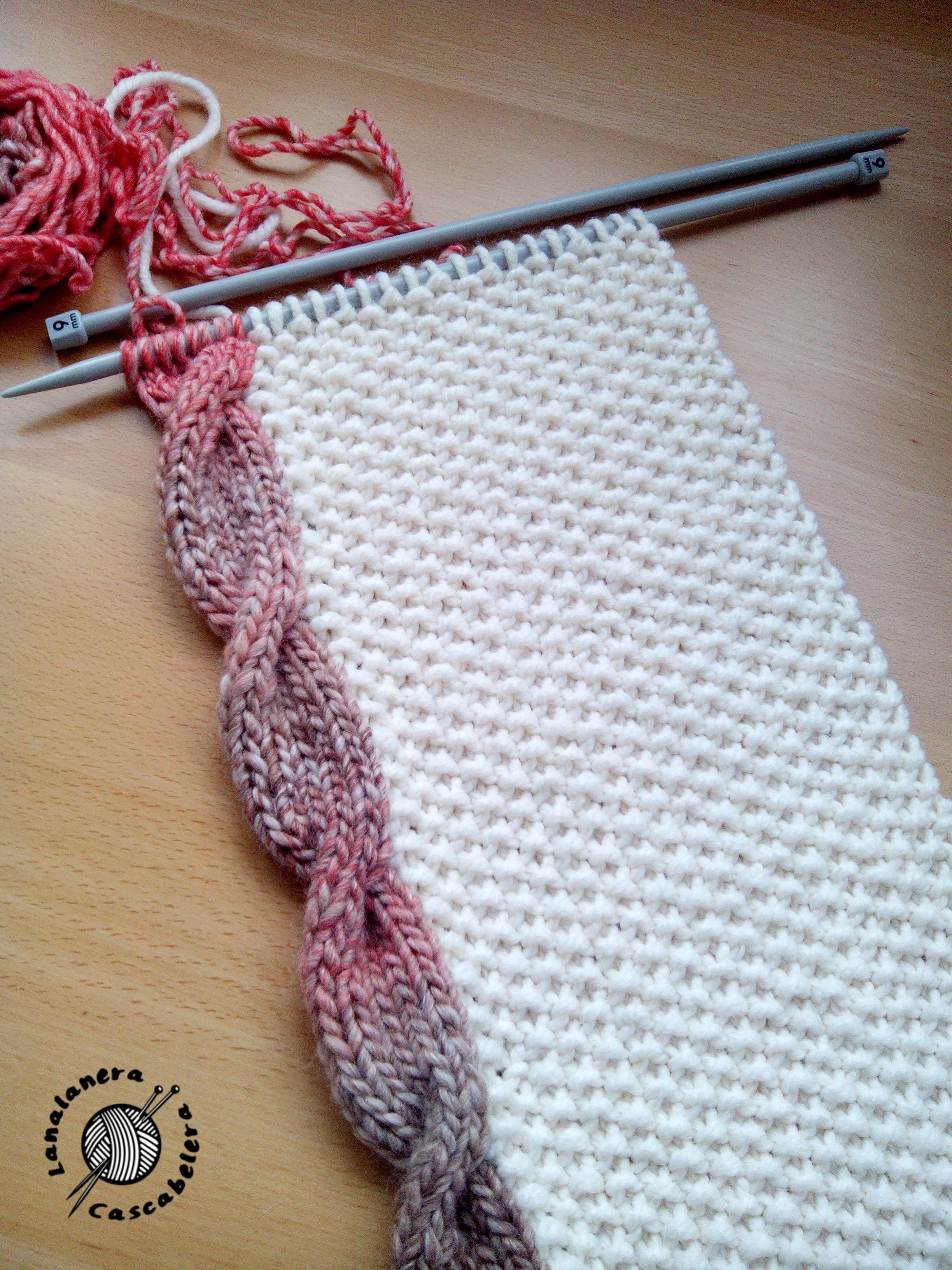 Bufanda (lana, dos agujas). Ochos laterales. El infinito al lado ...