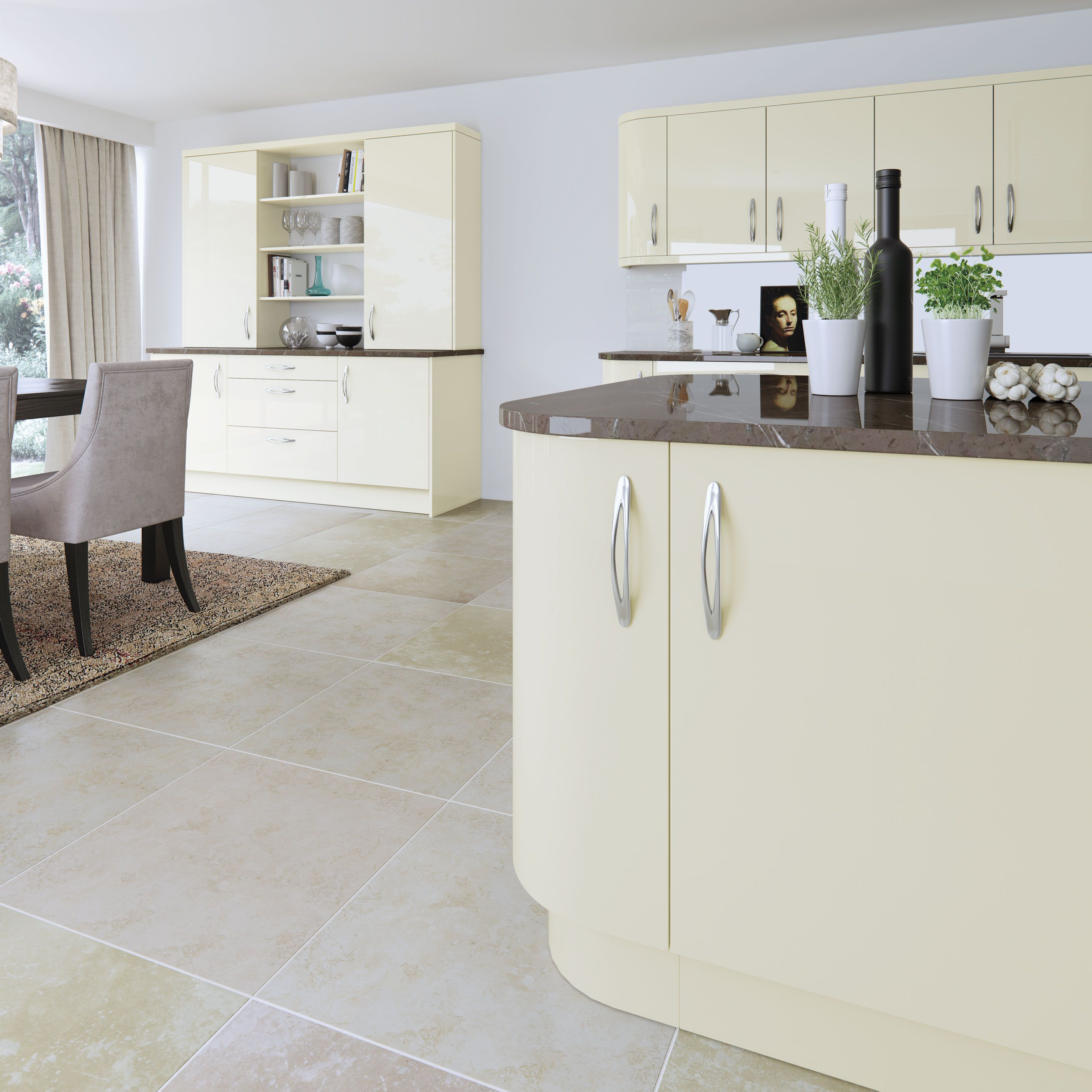 VIVO Ivory, high gloss slab door. | Kitchen designs | Pinterest ...