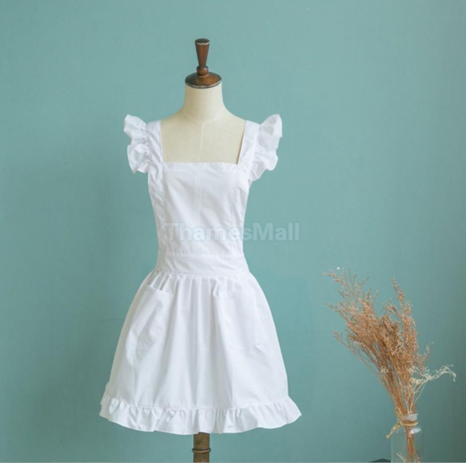 White lace apron wedding - Victorian Bib Apron Pinafore Maid Mother S Day Bridal Wedding Banquet White