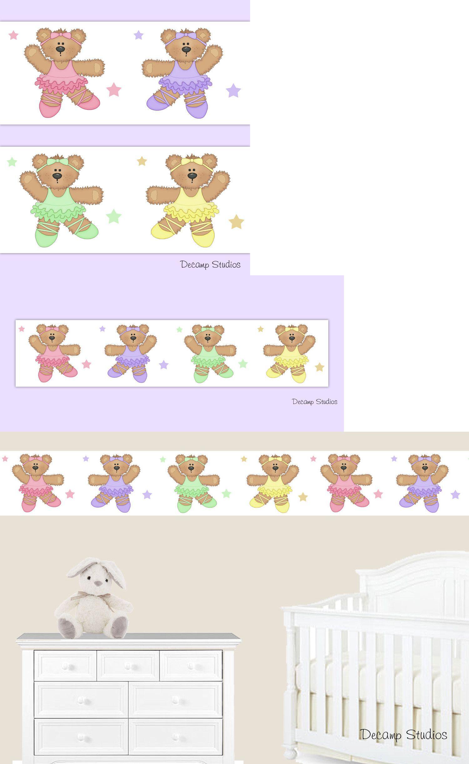 Wallpaper Borders 37636 Ballerina Teddy Bear Baby