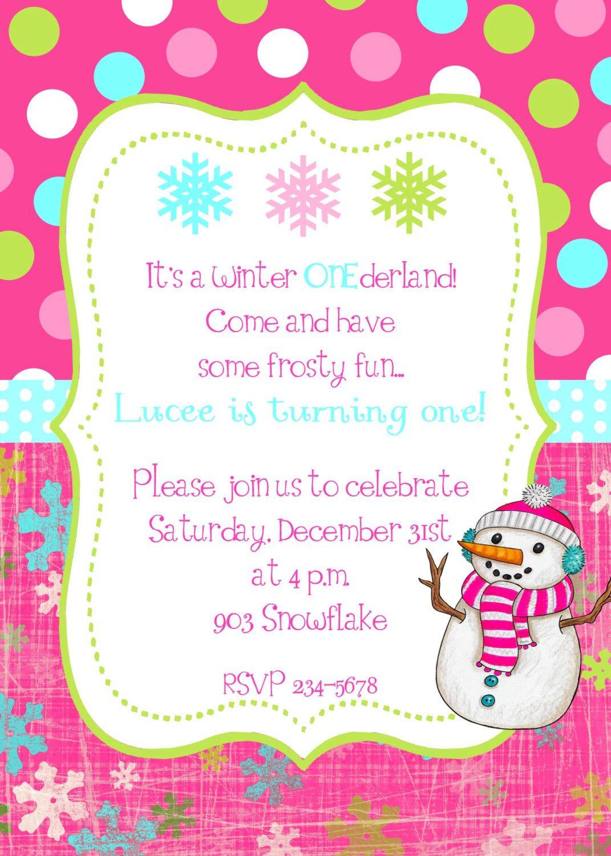 winter snowflake snowman birthday party invitation 9 50 via etsy