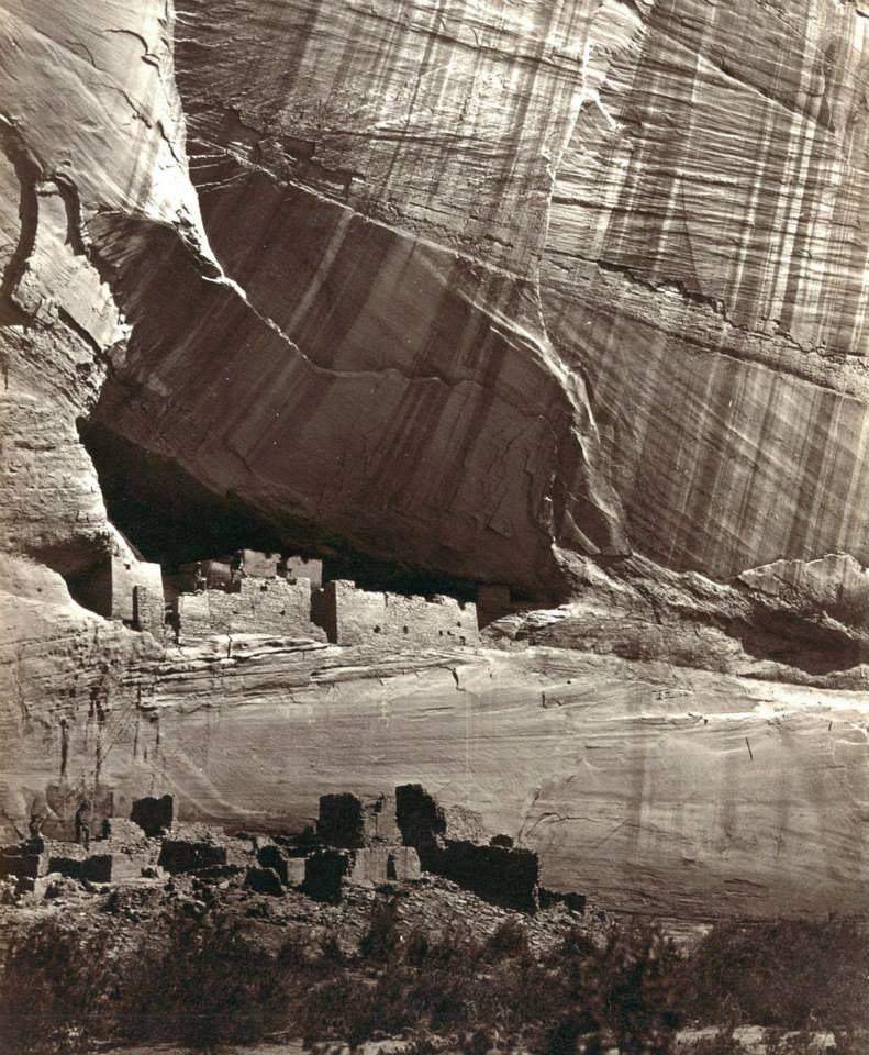Ancestral Pueblo Native American, Anasazi, ruins in Canyon de Chelly, Arizona, in 1873.