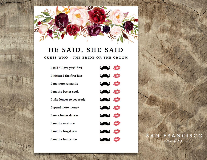 He Said, She Said Bridal Shower Game Mustache Lips