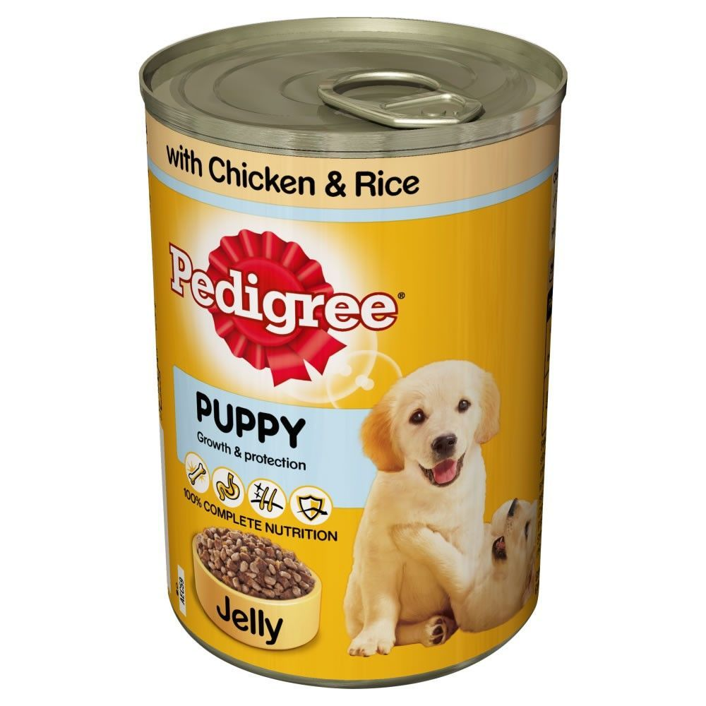 Pedigree Puppy Food Tins Chicken Rice Chunks In Jelly 4 X 6 X