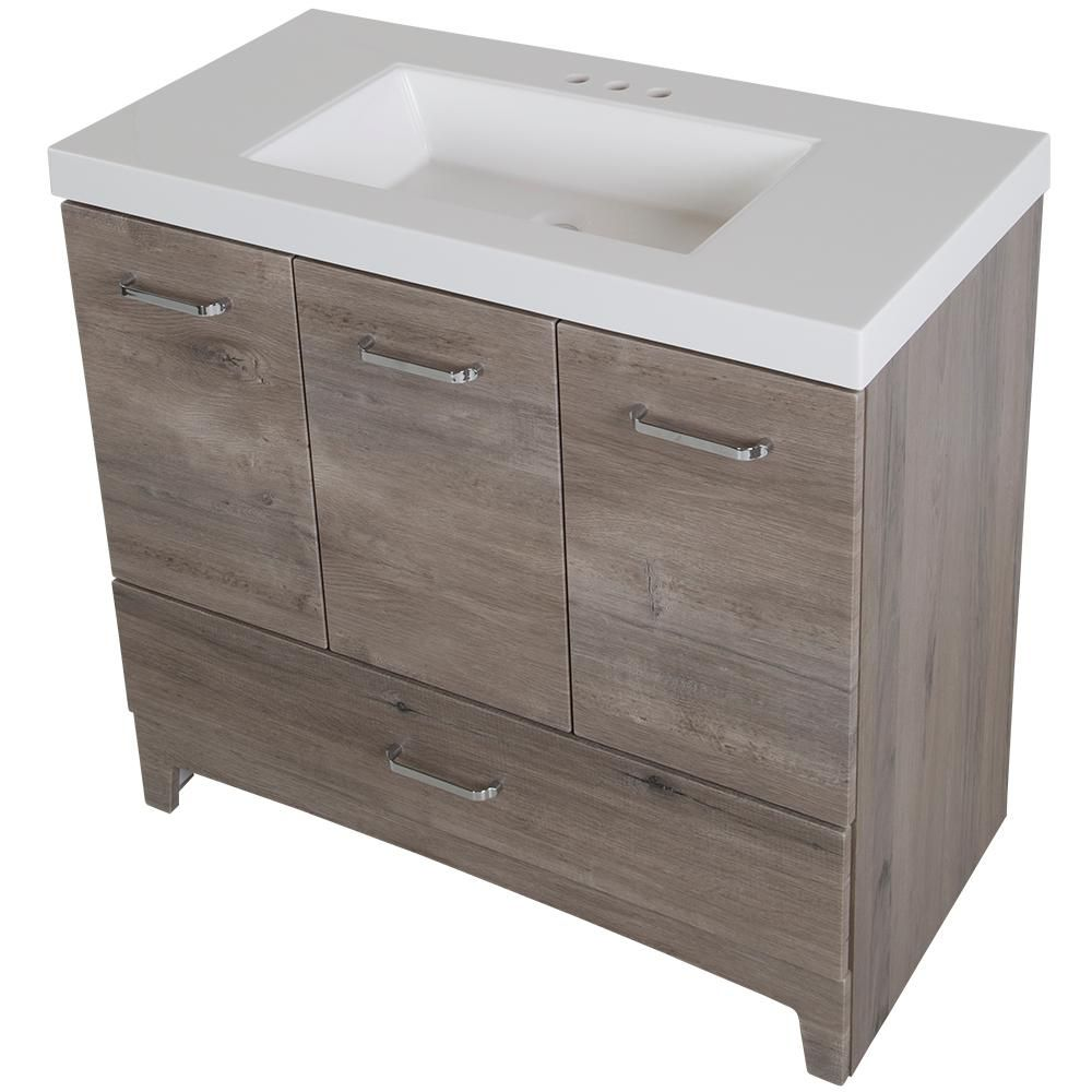 Glacier Bay Stancliff 36 50 In W Vanity In White Washed Oak With