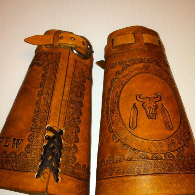 """Leather """"Cowboy Cuffs"""" by MaskCraft on Etsy.-SR"""