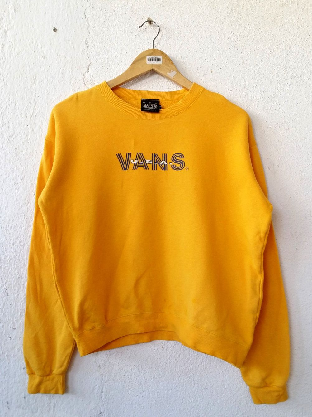 vintage 90 s vans usa women sweatshirt with spell out embroidered sweater jumper pullover swag. Black Bedroom Furniture Sets. Home Design Ideas