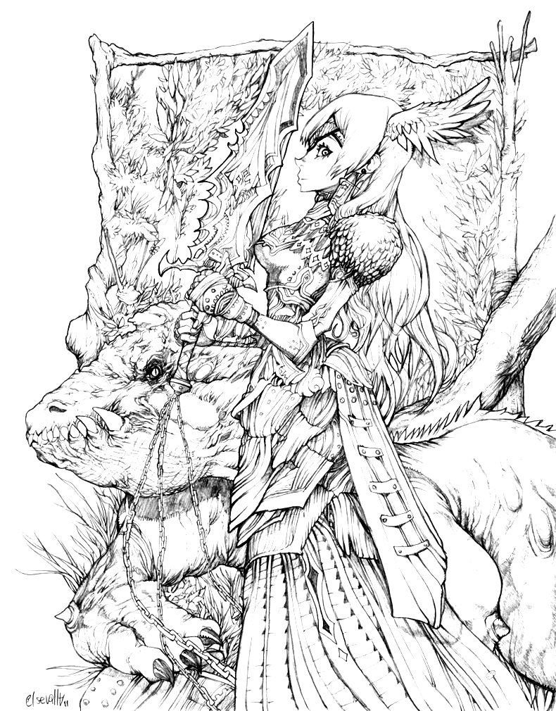 fantasy coloring pages for adults # 11