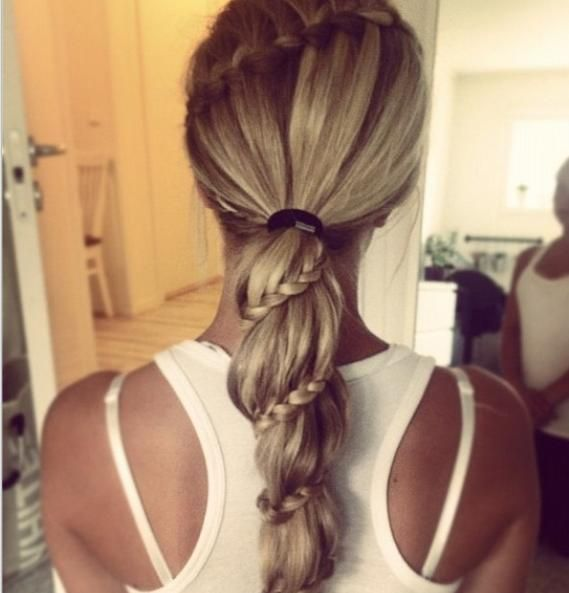 Waterfall braid into spiral lace braid ponytail ...
