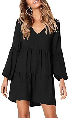 Amazing offer on MISSLOOK Women's Short Sleeve Tunic Dress V Neck Ruffle Loose Mini Dress Swing Shift Dresses online - Stargreatshopping