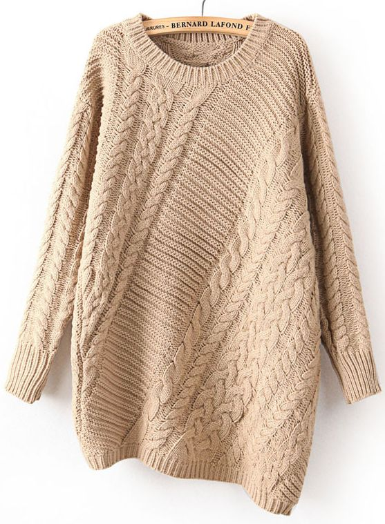 Khaki Long Sleeve Asymmetrical Cable Knit Sweater | OUTFITS ...