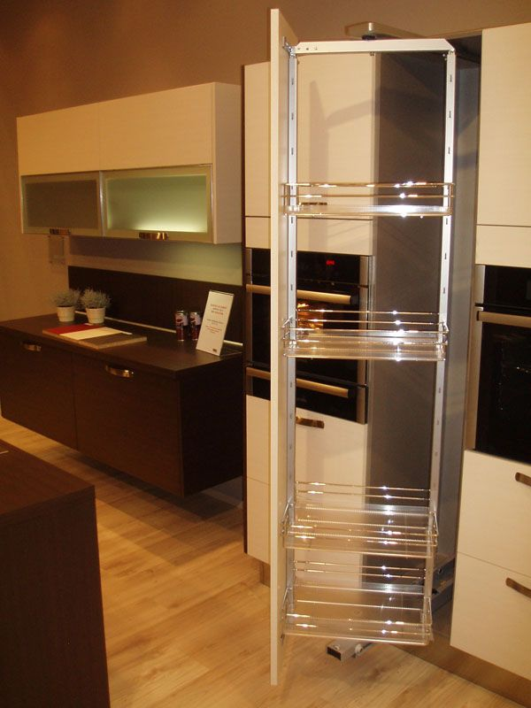 Pull-out pantry rotates so that it's out of the way while ...