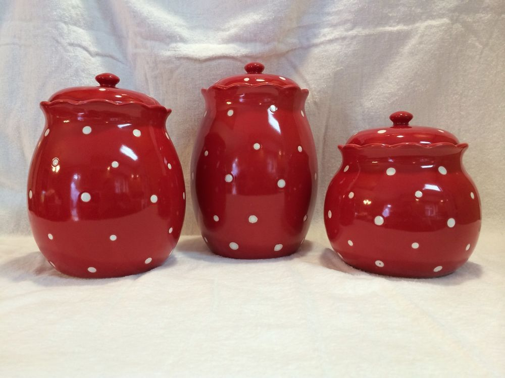 NEW Red Temp Tations Polka Dot 3 Piece Canister Set   QVC TEMPTATIONS K28410