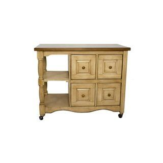 Sunset Trading Andrews Four Drawer Kitchen Cart (Beige) in ...