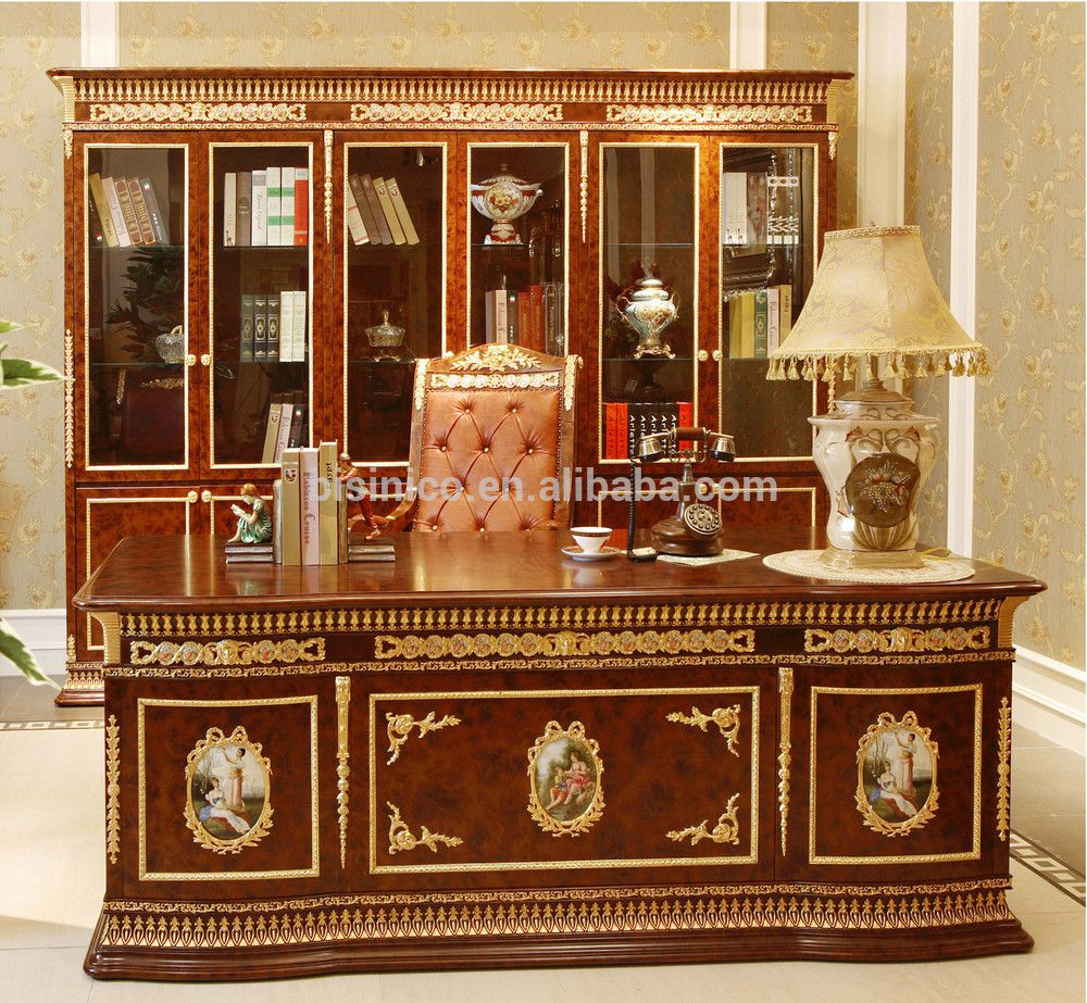 French Rococo Office Furniture Solid Wood Gold Leaf Desk Antique Gorgeous Executive Writing
