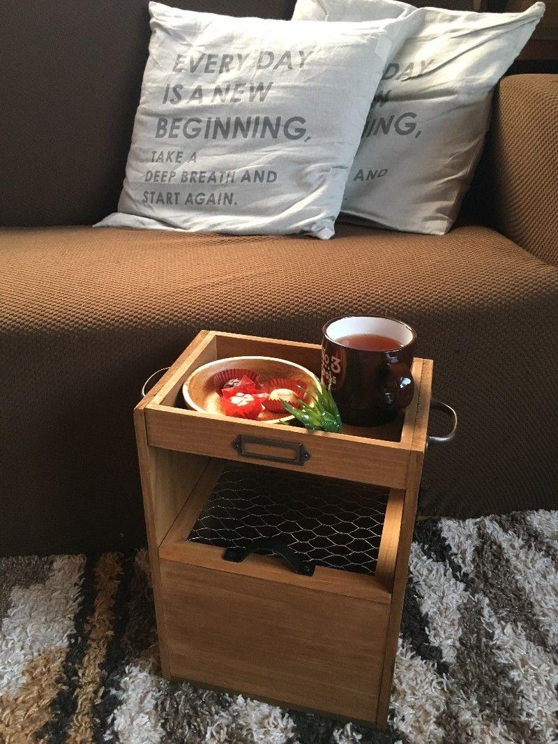 100均材料で物入れ付きサイドテーブル サイドテーブル サイドテーブル Diy 手作り棚